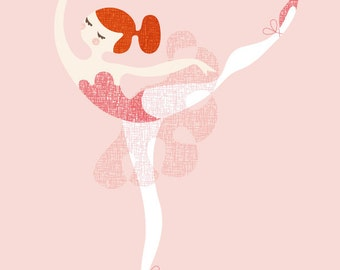"11X14"" ballerina arabesque giclée print on fine art paper. pink, red, redhead."