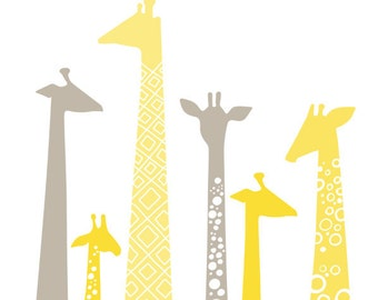 "9X12"" giraffe silhouettes giclee print. pastel butter yellow and gray."