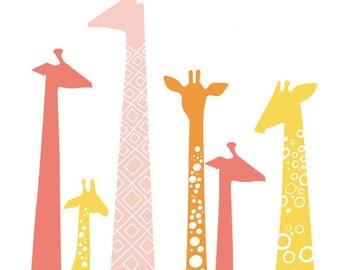 "8X10"" modern giraffe silhouettes giclee print on fine art paper. pink, yellow, orange. portrait format."