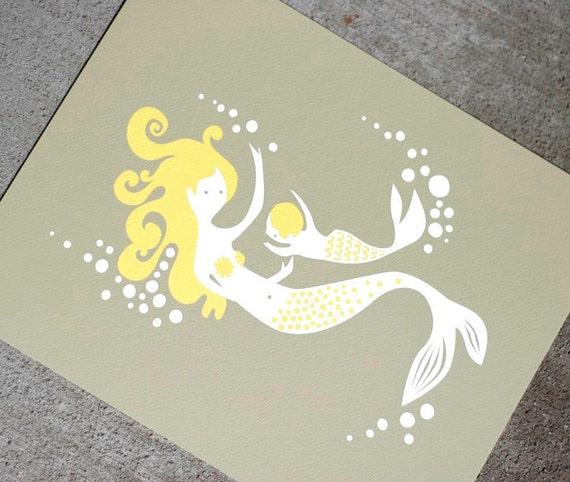 sale. mermaid mother & child giclee print. 8X10. gray/yellow.