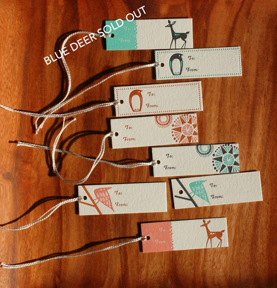 sale. buy 1 get 1 free. set of 8 letterpressed tags.