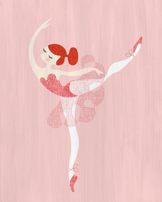 CLEARANCE. prima ballerina giclée print. pink/red with paint texture