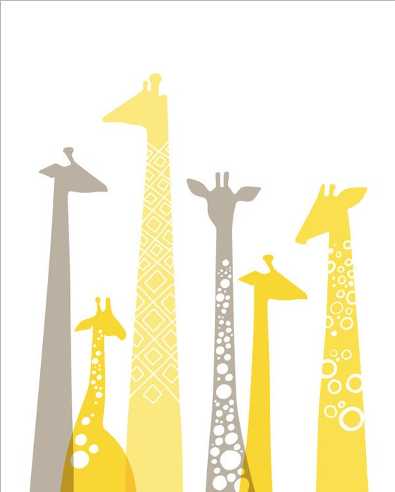 "8X10"" modern giraffes giclee print on fine art paper. butter light yellow, light taupe gray. portrait format."