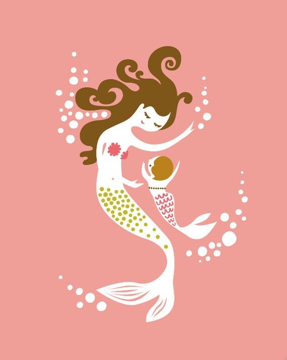 """8X10"""" mermaid mother & baby girl. coral, pink, olive green, light and dark brunette. 8X10"""" giclee art print on fine art paper."""