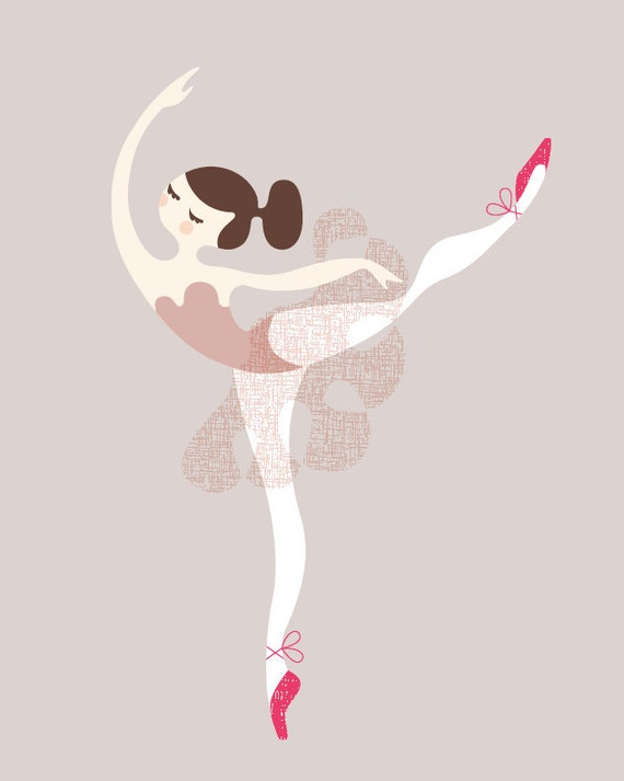 "8X10"" ballerina arabesque giclée print on fine art paper  light ""wool"" gray, dusty mauve pink, fuchsia/magenta. brunette."