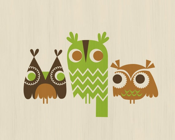 "10X8"" three owls giclee print on fine art paper. brown and green."