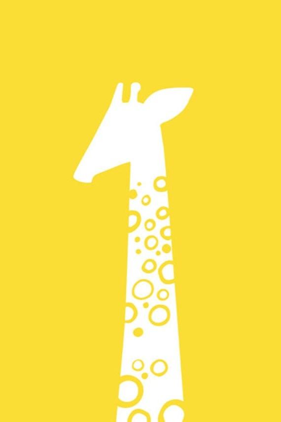 single giraffe portrait 5X7 giclee print. yellow.