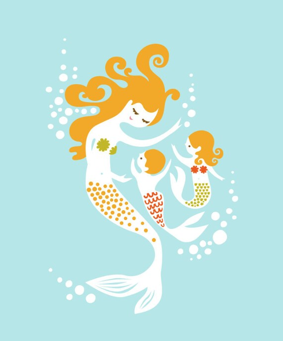 """8X10"""" mermaid mother with boy and girl twin children giclee print. blue, yellow, olive, orange. mothers day gift."""