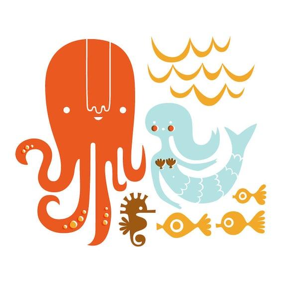 "12X12"" octopus garden giclee print on fine art paper. orange, light blue, brown, schoolbus yellow."