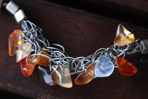 HOT WIRED Choker Necklace Sterling Silver Wire Wrapped With Carnelian & Czech Glass OOAK   -On Sale-