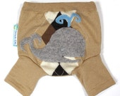Wool Shorties Diaper Cover - WHALE TALE - X-Small Newborn