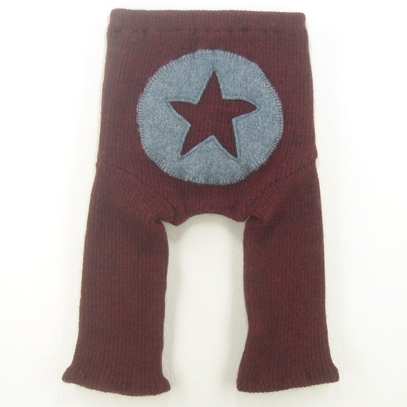 SALE Recycled Wool Longies Diaper Cover - ALL STAR - Small 0-9m