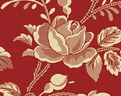 Sara Morgan for Blue Hill Fabrics, Garibaldi 2, Large Rose on Red 7639.2 - 1/2 Yard