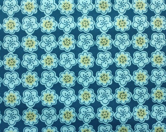 Erin McMorris, Park Slope, Floral Dots in Teal - 1 Yard Clearance