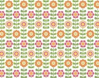 Riley Blake, Summer Song, Summer Flowers in White C7051- 1 Yard - Clearance