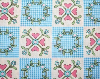 Sale-  Japanese, Lecien, Grandmother's Flower Garden, Patchwork Wreath in Blue (2601) by Rosalie Quinlan- 1 Yd