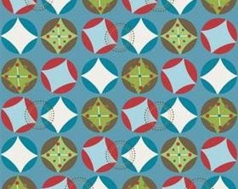 Doohikey Designs for Riley Blake, Hooty Hoot, Hooty Starburst in Blue C3013 - 1/2 Yard