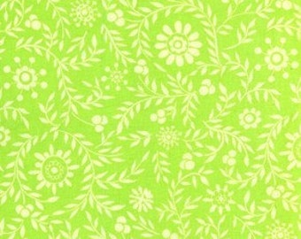 Dena Designs, Snow Flower, Snow Blossom in Lime Green DF26- 1 Yard Clearance