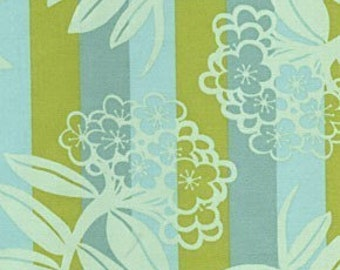 Anna Maria Horner, Chocolate Lollipop, Large Floral Stripe in Blue and Green - 1 Yard Clearance