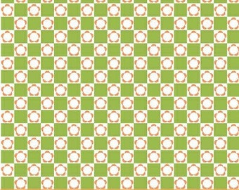 Melanie Hurlston for Windham, Little Menagerie, Flower Check in Green (32081-2) - 1 Yard Clearance