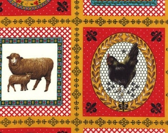 Moda, American Jane for Moda, Le Petit Poulet, Animal de Fermel in Red 21508-11 - 1 Yard Clearance