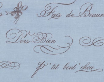 Bunny Hill Designs for Moda, Ooh La La, French Word in Sky 2831.16 - 1/2 Yard