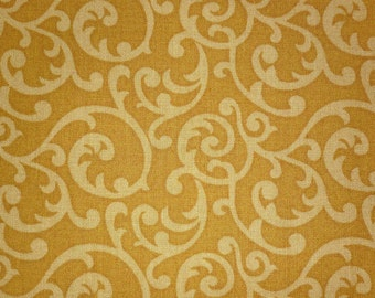 Sara Morgan for Blue Hill Fabrics, Holiday Heritage, Seasonal Scrolls in Gold 7511.17 - 1/2 Yard