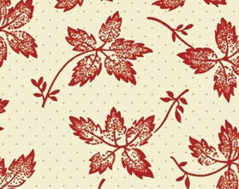 Sara Morgan for Blue Hill Fabrics, Garibaldi 2, Leaves on Dots in Red 7645.2 - 1/2 Yard