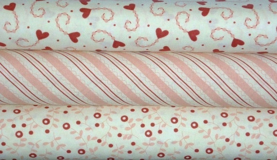 Sandy Gervais for Moda, Candy Kisses in Pink and Red-1/2 Yd Bundle of 3 (1.5 Yds Total)