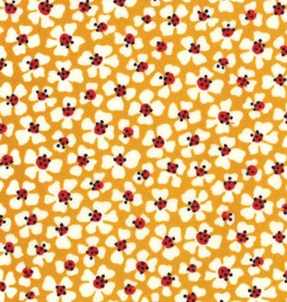 American Jane for Moda, Le Petit Poulet, Le Petit Fleur in Mustard 21503-12 - 33 Inches (End of Bolt)