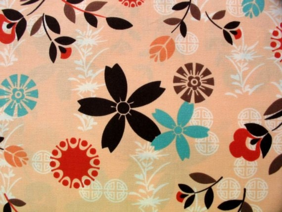Timeless Treasures, Bamboo, Asia Floral in Peach 5156C - 1 Yard Clearance