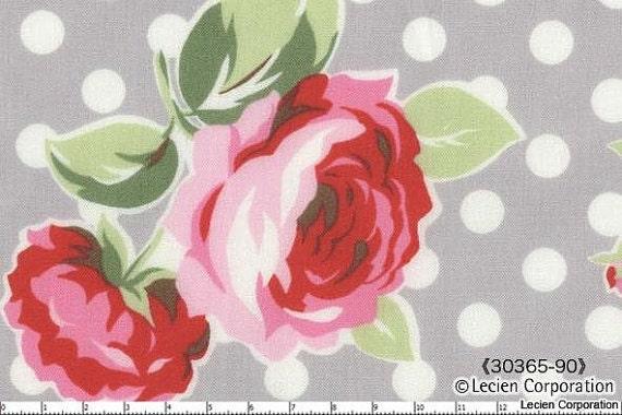 Japanese, Lecien, Flower Sugar, Fall 2011, Polka Dot Roses in Grey 30365.90 - 1/2 Yard (Last One)