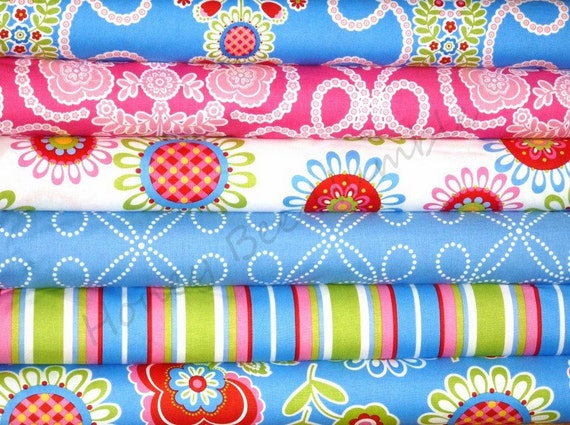 Pillow and Maxfield for Michael Miller, Ooh La La - 1/2 Yd Bundle in Blue and Rose