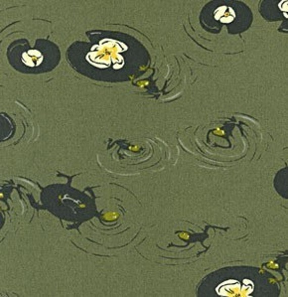 Heather Ross, West Hill, Frog Pond in Moss Green - 1 Fat Quarter