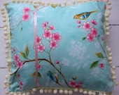 cherry blossom and birds pillow