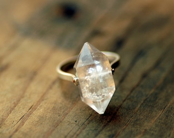 Herkimer Diamond Ring - Sterling Silver Band, Custom Stone, Quartz Crystal Ring, Boho Wedding Ring
