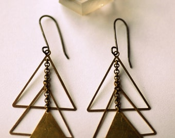 Vintage Brass Gold Triangles, Santa Fe Navajo Inspired - Rex Earrings