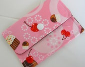 Yummy Cupcakes and Cherries... Pink and Cocoa... Mini Wallet/Card Case