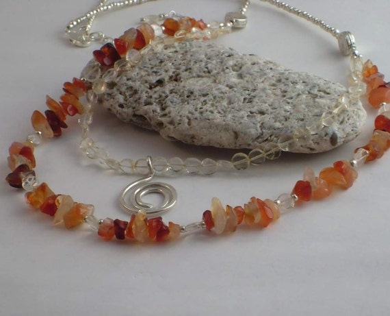 Citrine and Red Adventurine Whirly Necklace
