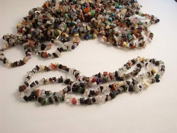 Multi-color Strands of Gemstone Chips
