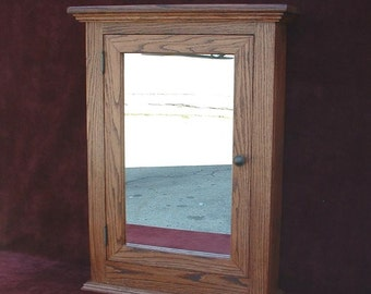 Medicine Cabinet Classic Solid Oak Hand Crafted  Beveled Mirror