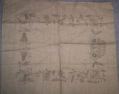 Vintage Embroidery Pillow Cover to Crewel or Embroider Birds and Thistles