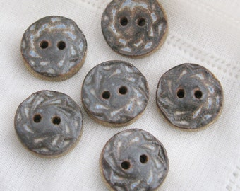 Blue Grey Spiral Buttons - stoneware clay