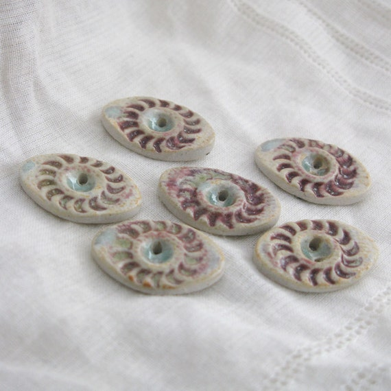 Cranberry Spiral Oval Buttons - porcelain clay