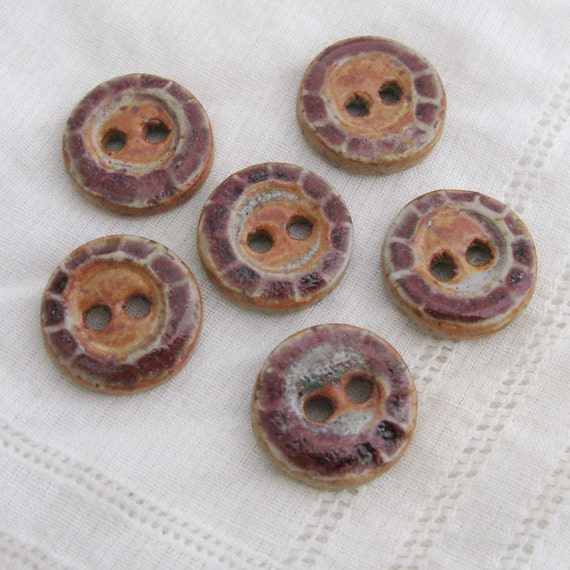 Cranberry Orange Buttons - stoneware clay