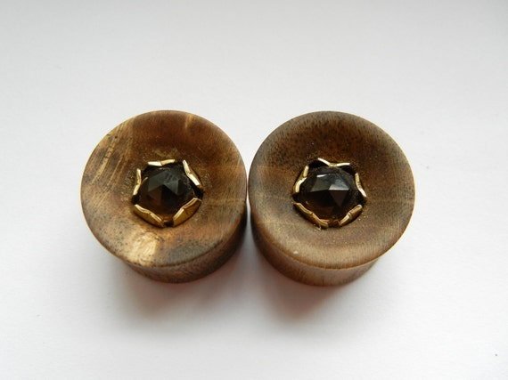 19 mm 3/4 inch rose cut smoky quartz set in brass in pistachio wood plugs PRICE REDUCED