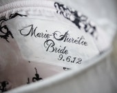 personalize your clutch... set of three silk name/message tags for bridesmaids, bridal and flower girl clutches