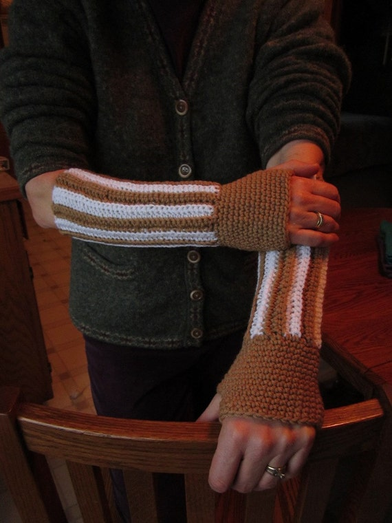 Warm Brown and White Arm Warmers