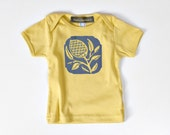 thistle organic t-shirt - baby 6-12 months - dijon/steel - lap-shoulder tee - SALE