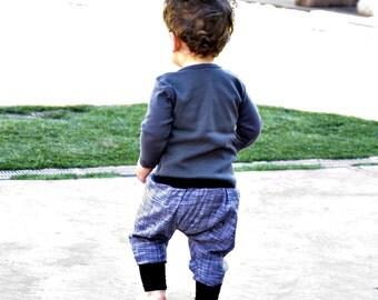 downtown aladdin pants - baby - black/white marl - organic cotton trim - modern trousers